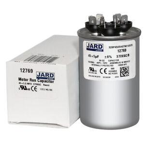 45 5 uf MFD 370 VAC Round Dual Capacitor 12769 Replaces C3455R 27L880 97F9880