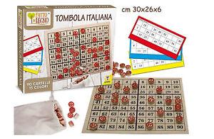 Gioco-Tombola-90-Cartelle-Tombola-Italiana-Tabellone-in-Legno-Bingo-Lotto