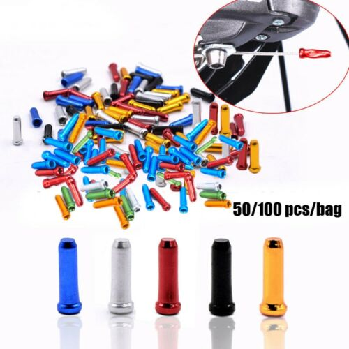 50//100xAluminum Bike Bicycle Brake Shifter Inner Cable Tips Wire End Cap Crimps