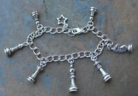 Chess Star Silver Charm Bracelet-pawn, Rook, Knight, Bishop, Queen & King Pieces