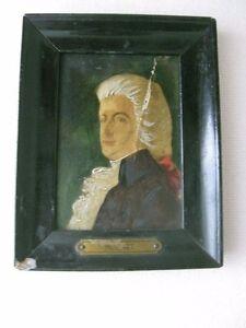 """Antique Miniature Portrait wood Frame - Miniature Portrait 4.10"""" x 3.15"""