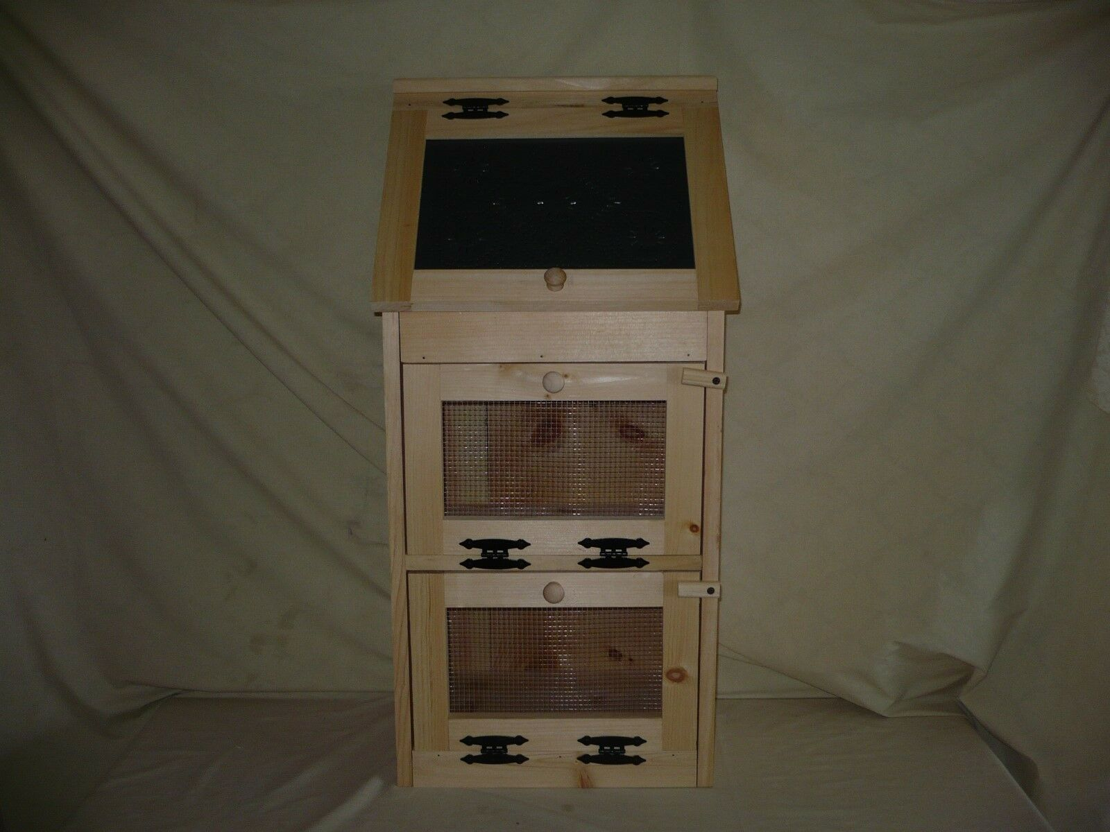 Handcrafted Solid Pine Bread Box with 2 Door Vegetable Bin.