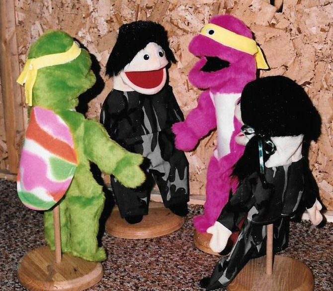 2 Neon Turtles &2 God's Army people ventriloquist puppets-VBS Ministry-Christian