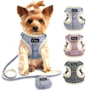 Hundegeschirr-mit-Leine-Kleine-Hunde-Chihuahua-Softgeschirr-Welpengeschirr-Rosa