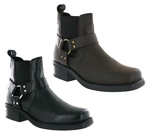 Gringos-Cowboy-Western-Boots-Low-Harley-Mens-Leather-Gusset-Heeled-Ankle-UK6-12