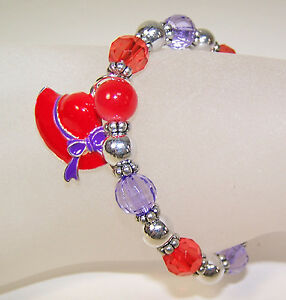 12-RED-HAT-CHARM-amp-BEAD-STRETCH-BRACELETS-FOR-THE-RED-HAT-LADIES-OF-SOCIETY