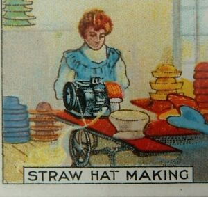 EDWARDIAN-TRADE-CARD-BEDFORD-STRAW-HAT-MAKING-LITHOGRAPH