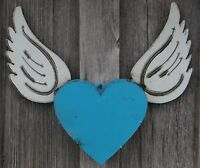 Mexican Metal Art 17 Heart W/ Angel Wings Wall Decor Recycled Metal