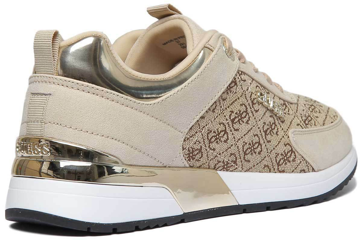Guess Marlyn Logo Print Sneaker Women Synthetic Synthetic Synthetic Leather Beige Trainers UK Size 3 88e49c