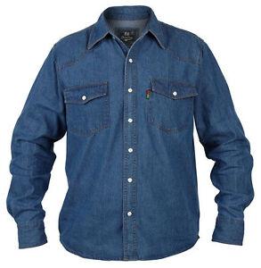 Calidad-Hombre-Duke-Vaquero-Camisa-Denim-Manga-Larga-Cierre-con-Broche-355ml