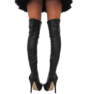 Ladies New Sexy Black Over Knee Thigh High Heel Stiletto Platform Stretchy Boots