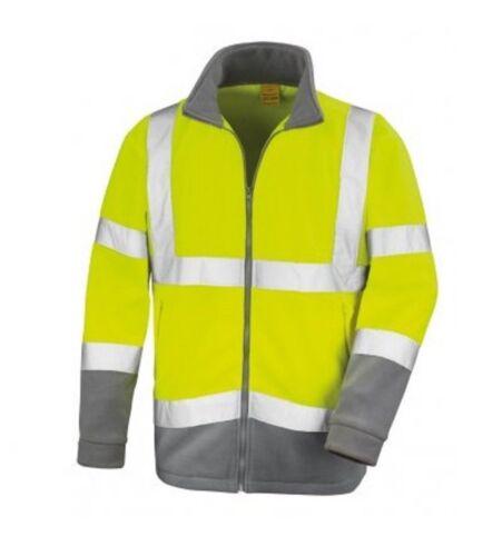 New Men/'s Hi-Vis Fleece Micro Viz Visibility Safety Work Contrast Jacket EN2047