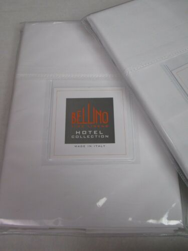 New BELLINO Fine Linens Italy Cotton Hemstitch White 2 King Pillowcases