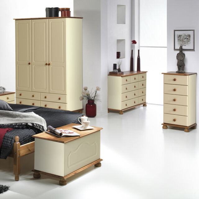 new concept 1b116 bcdf6 Cream and Pine Quality Bedroom Furniture Wardrobes Chest of Drawer Bedside  Table