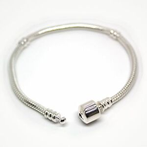 European-CHARM-BRACELET-Snake-chain-Snap-Clasp-Solid-925-Sterling-silver-Sizes