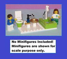 LEGO Custom Lime Tiled Bathroom Toilet Shower Sink Miniature Mini Doll House WC