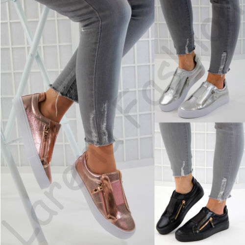 New Womens Flat Metallic Casual Sneakers Slip On Trainers Zip Comfy Shoes Sizes