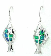 Opal  Fisch Opal Blau Ohrringe 925 Silber Schnäppchen  Sterlingsilber