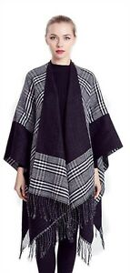 Schals & Tücher Womens Black Grey Wooley Blanket Cape Shawl Large Wrap Scarf Poncho Cape *lick* Kleidung & Accessoires