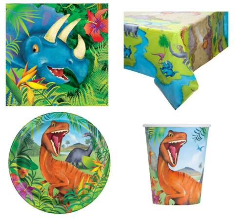 DINOSAUR PARTY PACK FOR 8 GUESTS 1 TABLE COVER 8 CUPS 8 PLATES 16 NAPKINS