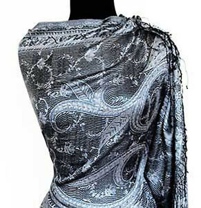 Iridescent-Silk-Jamawar-India-Paisley-Shawl-Black-amp-White-Jamavar-Wrap