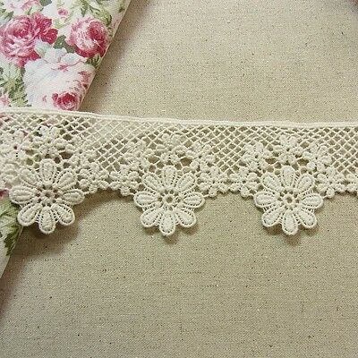 1 yds Antique St Scalloped Embroidery Cotton Fabric Crochet Lace Trim 5cm Wide