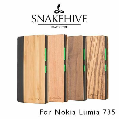 SNAKEHIVE® Real Wood & Leather Wallet Flip Case Cover for Nokia Lumia 735