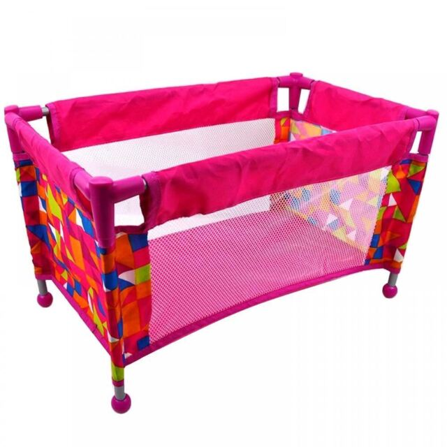 Childrens Kids Deluxe Travel Cot Bed Crib Baby Doll Toy