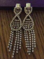 "3.5"" Long CLIP ON Rhinestone Crystal Clear Silver White Wedding Dangle Earrings"
