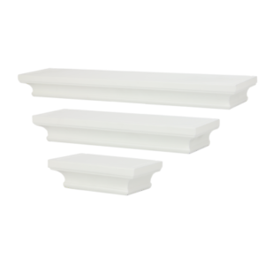 3 White Floating Shelves Wall Storage Shelves Decorative Shelf M/&W