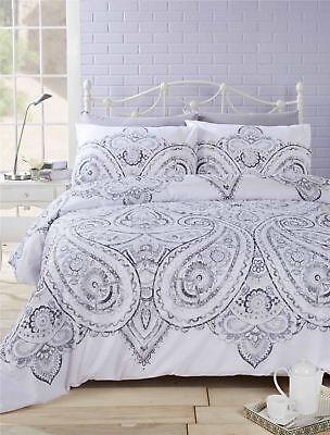 Bettwäschegarnituren Intellektuell Blumenmuster Paisley Grau Baumwollgemisch Wende Super King Bettbezug