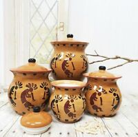 Western Kokopelli, Hand Painted Ceramic, 4pc Canister Set, 83203 By Ack, New, Fr