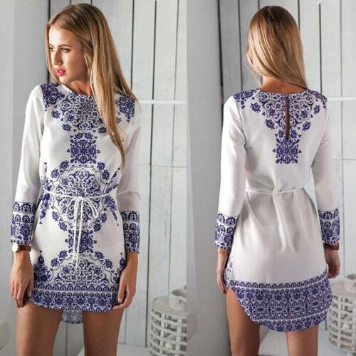 Women Ladies Vintage Floral Short Dress Party Evening Bodycon Long Sleeve  Uzlh