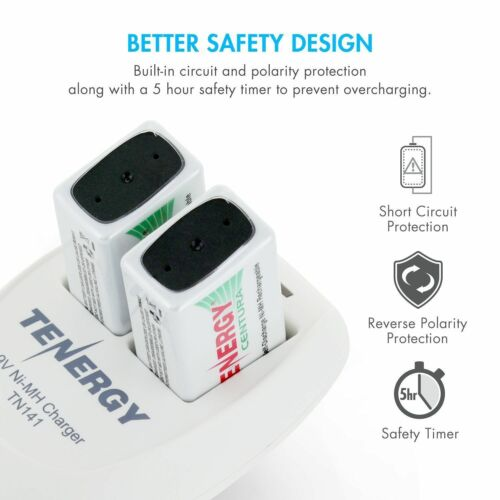 Tenergy TN141 2-Bay 9V Charger+2PCS Centura 9V NiMH Rechargeable Batteries Cells