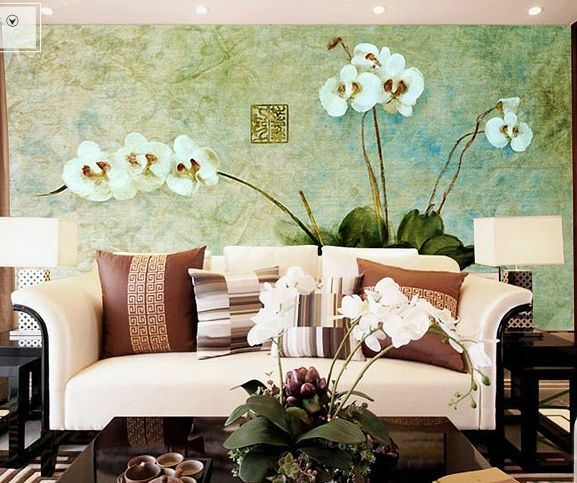 3D Painting Phalaenopsis  Paper Wall Print Decal Wall Deco Indoor wall Murals