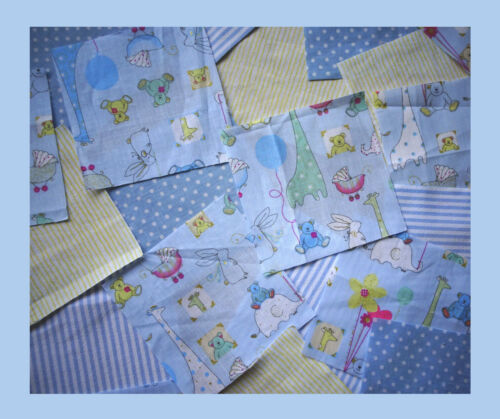 4ins Blue or Pink Packs of 25 Animal nursery fabric patchwork squares,10 cm