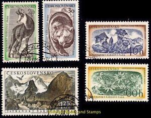 EBS-Czechoslovakia-1957-Tatra-National-Park-Plants-amp-Animals-Mi-1035-1039-CTO