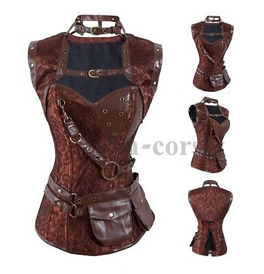 Brown Brocade Canvas Steampunk Corset Jacket Belt Faux Leather Trim