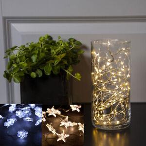 LED-Draht-20-100-Micro-LED-Lichterkette-Drahtlichter-Timer-warmweiss-Batterie