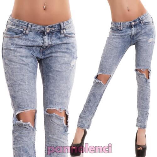Jeans donna pantaloni cavallo basso bleached slim strappi nuovi D10973