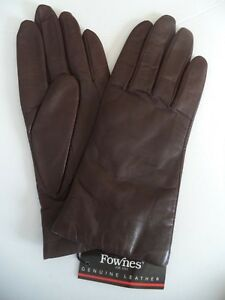 Fownes-Ladies-100-Cashmere-Lined-Genuine-Leather-Gloves-Large-Brown