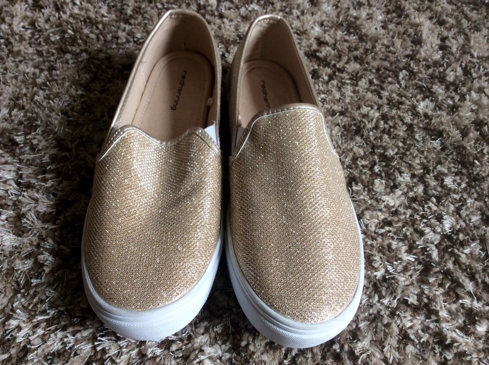 Red Herring. Ladies. Gold Glitter Shimmer Trainers.
