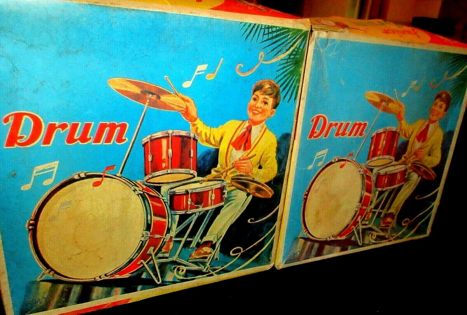 UNIQUE VINTAGE GREEK LITHO METALIC - JUNIOR DRUMS - TZAZ  SET - FROM 60s MIB
