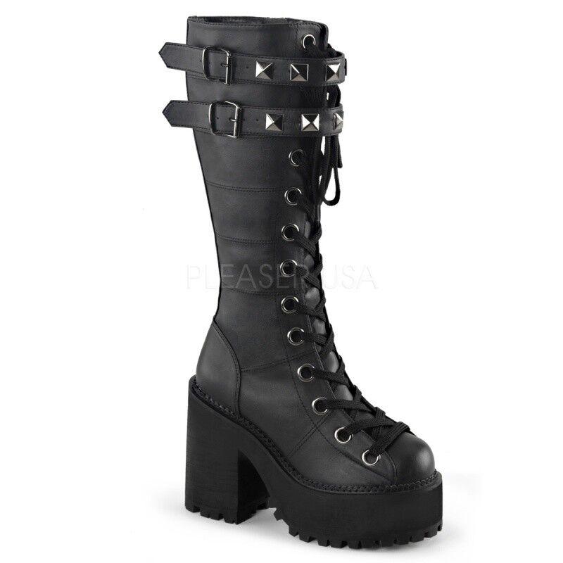 Demonia Assault - 202 Plateau Knee bottes Noir Rivets Gothik Punk Dark grunge...