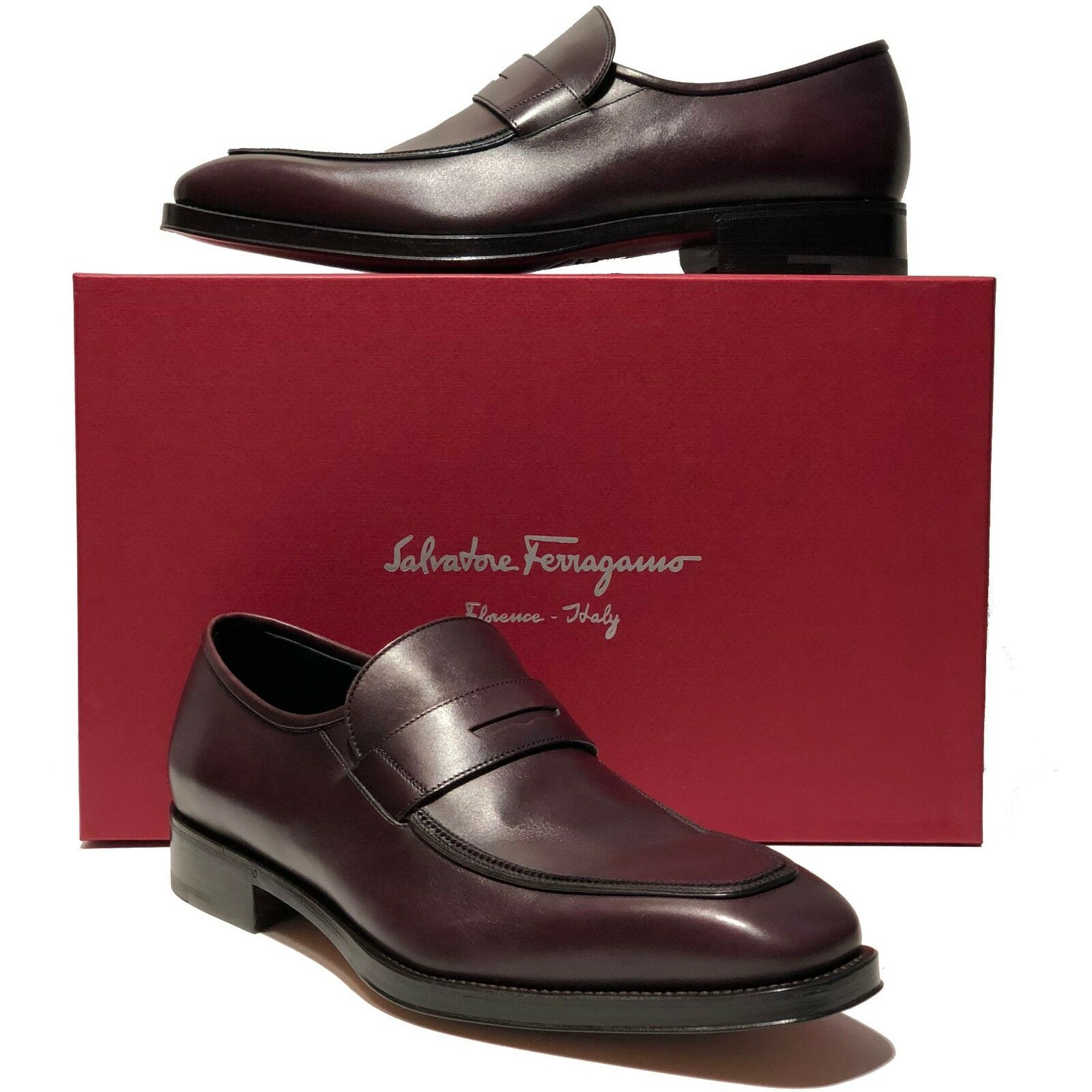 Ferragamo GIORGIO Brown Leather Fashion Penny Dress Loafers Mens Welted Moccasin