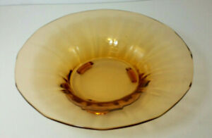 Fostoria Amber Glass Footed Serving Fruit Bowl Bowl 12 In Across Top Vintage