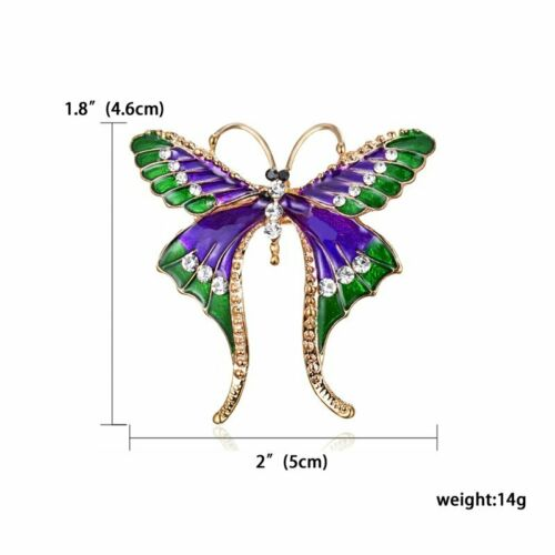 Moda Cristal Mariposa Pájaro tragar Animal Broche Pin mujeres encantos Joyería