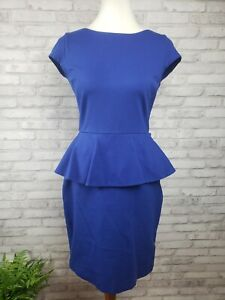 Banana Republic Size 4 royal blue peplum dress stretch knit 34 to 36 inch bust