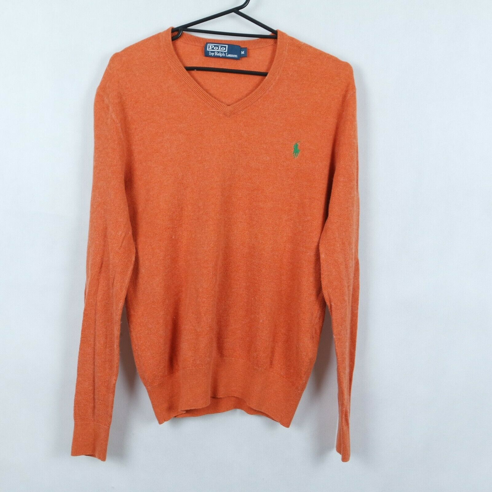 RALPH LAUREN Mens Orange Cashmere V Neck Sweater Jumper Größe Medium, M