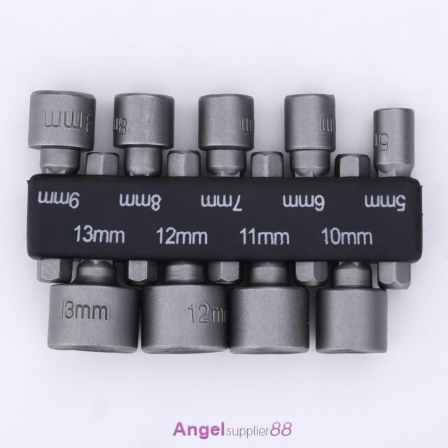 "Metric 5-13mm Power Nut Driver Drill Bit Set 1/4"" Hex Shank Socket Wrench Screw"